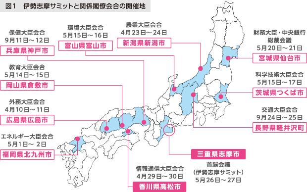 図1 伊勢志摩サミットと関係閣僚会合の開催地