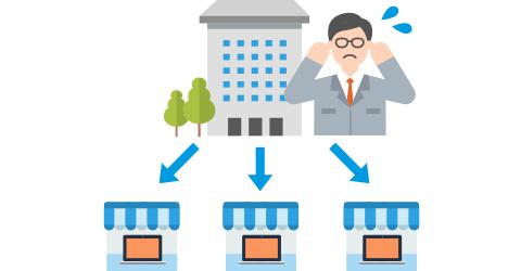 小売業E社さまの場合 複数の拠点で使用しているため、資料作成ツール(Office)のライセンス管理が煩雑で無駄なコストも発生…