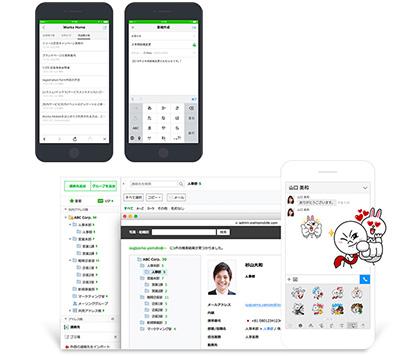 日本の企業文化に対応した『アドレス帳』や、社員全員で共有できる『掲示板』も標準装備