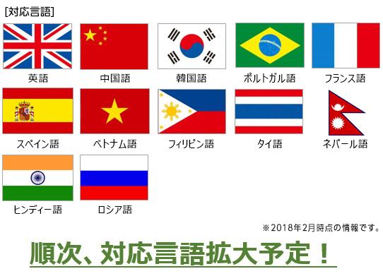 英語 中国語 韓国語 ポルトガル語 フランス語 スペイン語 ベトナム語 フィリピン語 タイ語 ネパール語 ヒンディー語 ロシア語 ※2017年5月時点の情報です。順次、対応言語拡大予定!