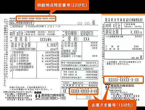 検針票イメージ (東京電力)
