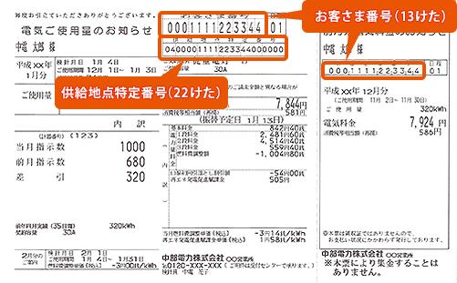 検針票イメージ (中部電力)