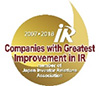 IR Award 2018 Companies with Greatest Improvement in IR