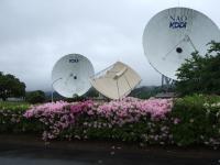 左より34mアンテナ・マルチビームアンテナ・電波望遠鏡